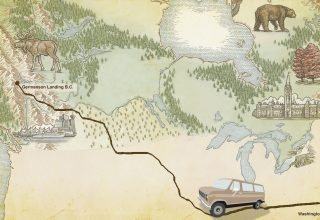 Illustrated map of Northern America including Canada and Alaska